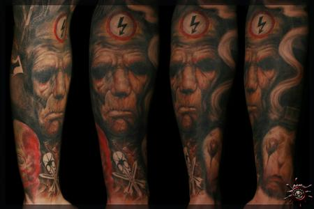 Tattoos - Chet Zar : Rusting, painting reproduction & his logo as a Signature  - 58469