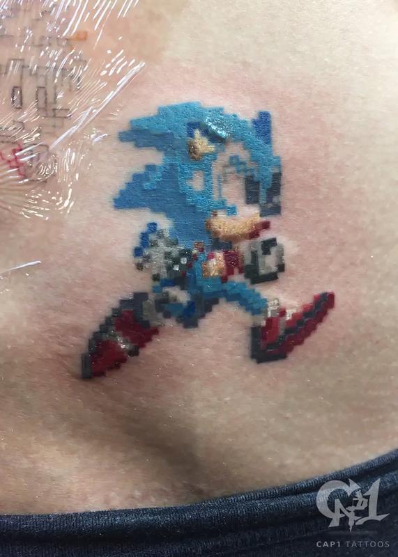Sonic The Hedgehog 8bit Tattoo By Capone Tattoonow