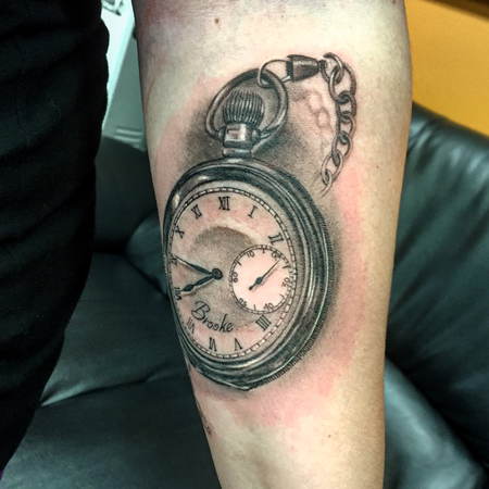 Tattoos - Black and Gray Stopwatch  - 119729
