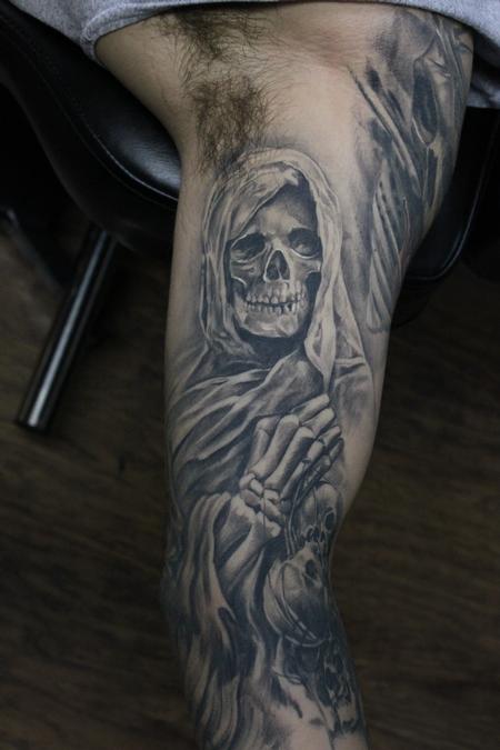 Tattoos - Healed Black And Grey Grim Reaper Sleeve - 119129