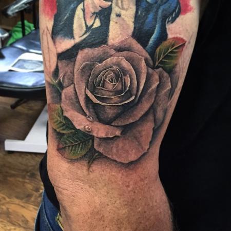 Tattoos - Black And Grey Rose Tattoo - 111563