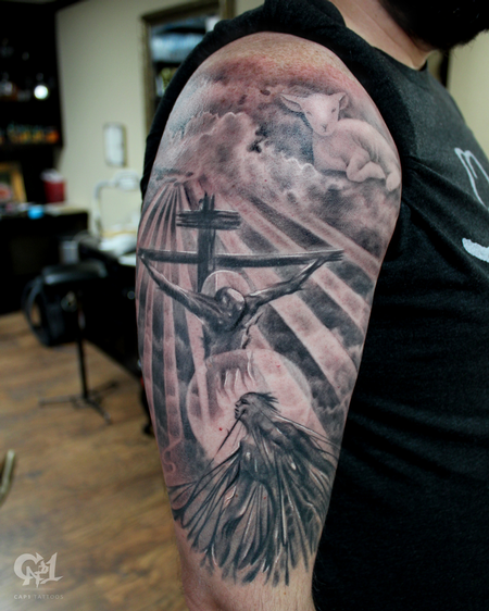 Tattoos - Jesus Saves Tattoo Sleeve - 130060