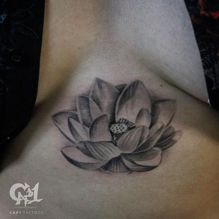 Tattoos - Lotus Flower Sternum Tattoo - 122684