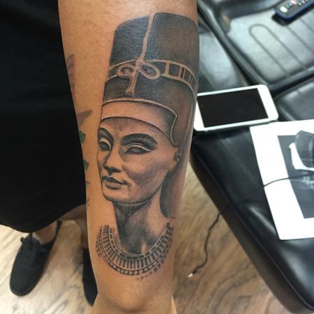 Tattoos - Black And Gray Nefertiti Egyptian Queen  - 120084