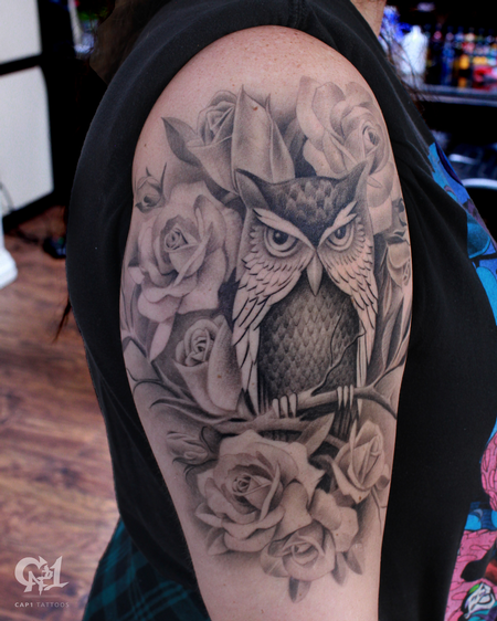 Tattoos - Roses And Owl Tattoo Sleeve - 130061