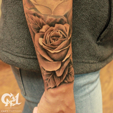 Tattoos - Realistic rosebud and free flowing leaves - 122772