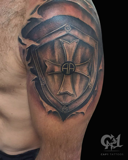 Capone - Skin Rip Shield Tattoo