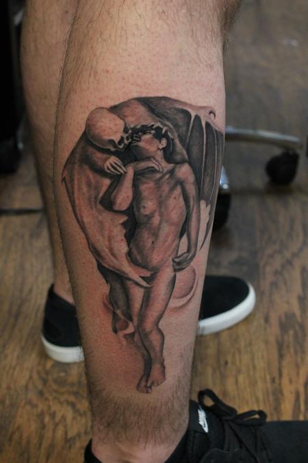 Tattoos - Black And Grey Kiss of Death Leg Piece - 117881