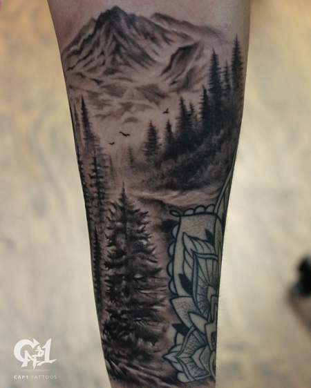 Tattoos - Forest and Mountain Tattoo - 127723