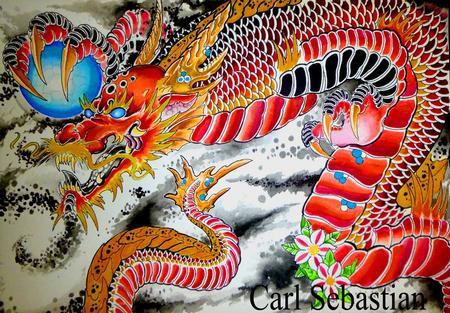 Tattoos - red dragon  - 77499