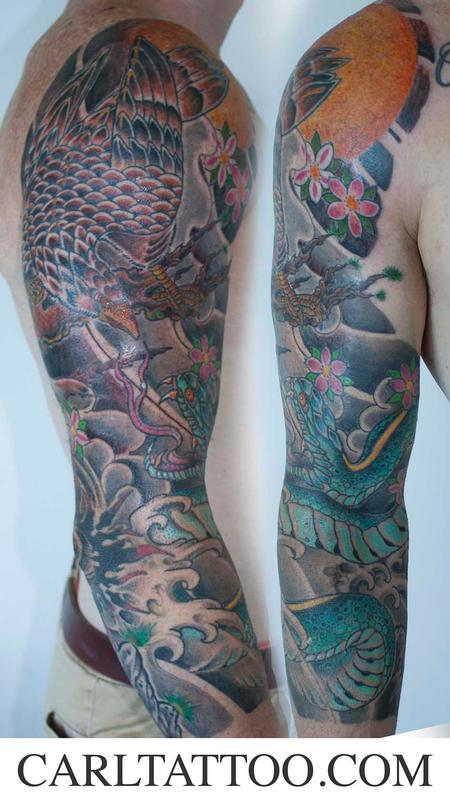 Tattoos - japanese hawk sleeve  - 86640