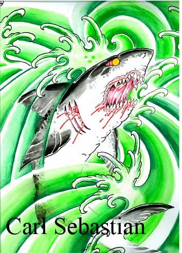 Carl Sebastian - shark water color