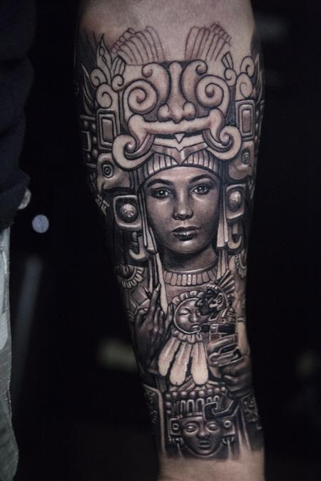 Tattoos - aztec woman tattoo - 132142