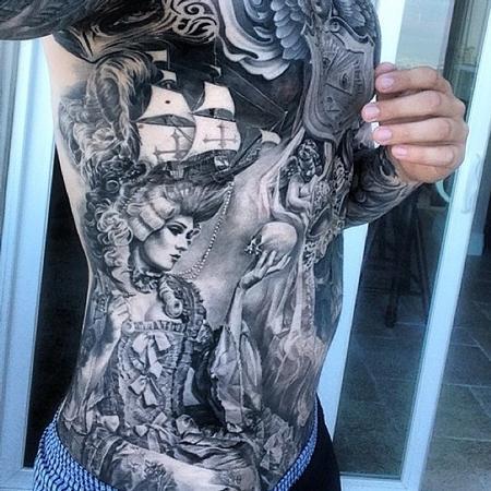 Tattoos - Carlos Torres Rib Tattoo - 92220