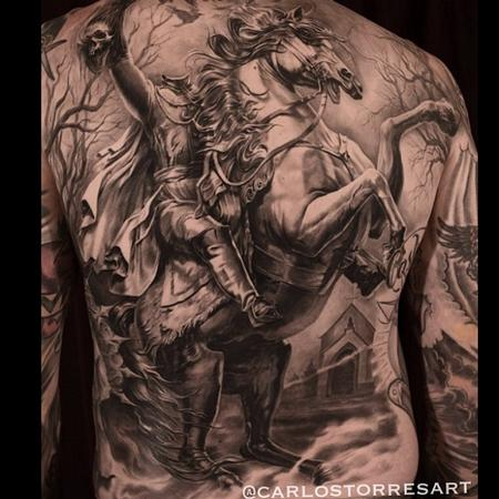 Carlos Torres - Headless Horseman Back Tattoo