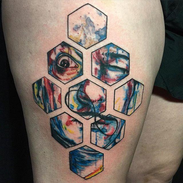 Color Hexagon Dali Tattoo By Regina Push Estrada Tattoonow
