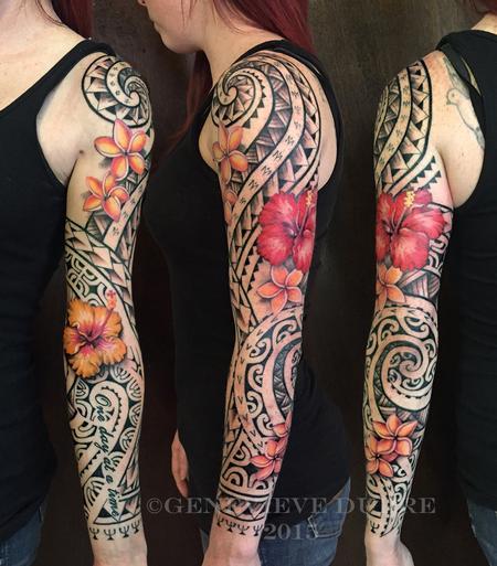 Genevieve Dupre - Tropical flower Polynesian sleeve