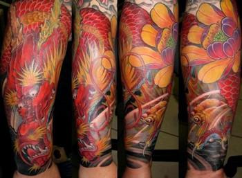 Tattoos - Dragon Goldfish Lotus - 42624
