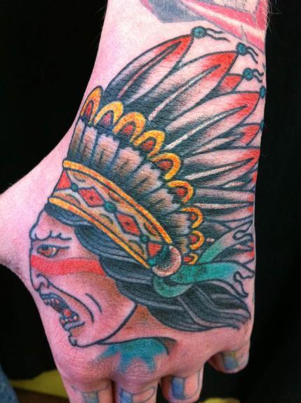 Tattoos - Indian head hand tattoo - 53286