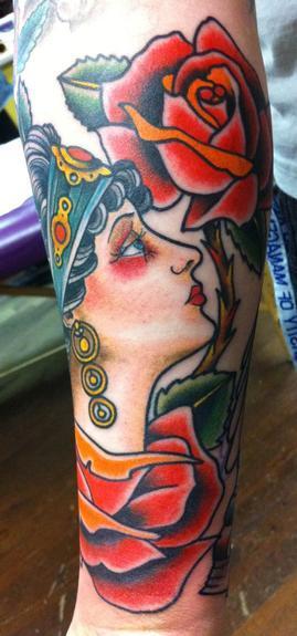 Tattoos - Traditional gypsy head - 53284