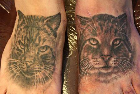 Tattoos - Black and Gray Cats - 67665