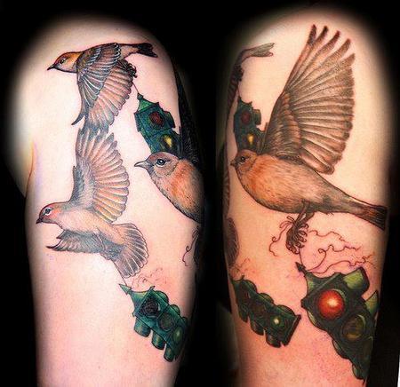Tattoos - Fly Away Stoplight Birds Tattoo - 67666