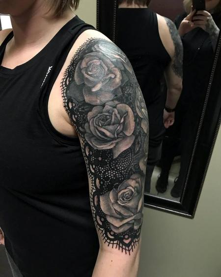 Tattoos - Lace and Rose Half Sleeve - 132492