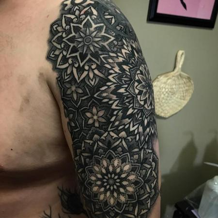Christina Walker - Mandala and geometric half sleeve in progress