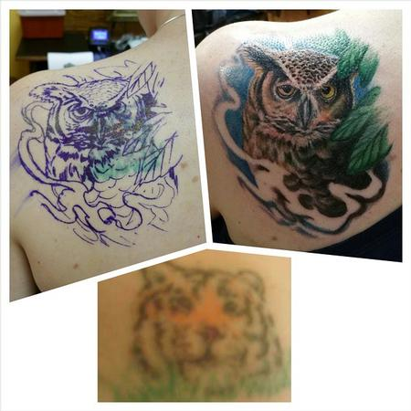 Tattoos - owl cover up - 101543