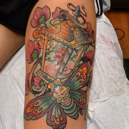 Tattoos - Lantern and Moth Tattoo - 101163