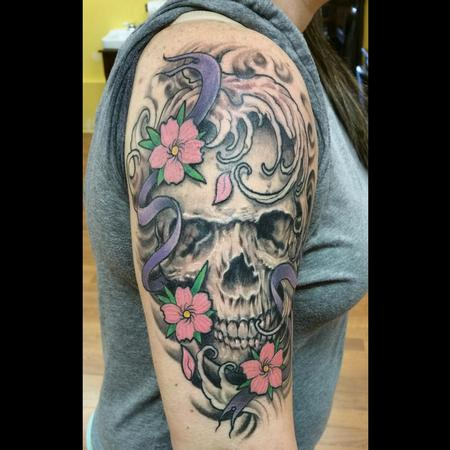 Tattoos - skull and blossoms - 103883