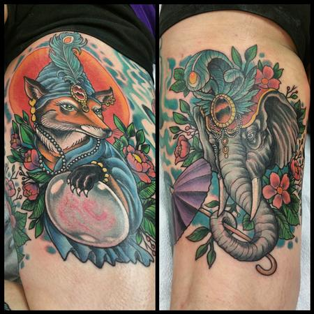 Tattoos - fox and elephant - 103877
