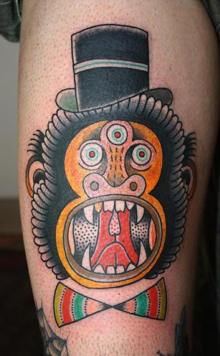 Tattoos - Traditional Style Monkey Tattoo - 61596