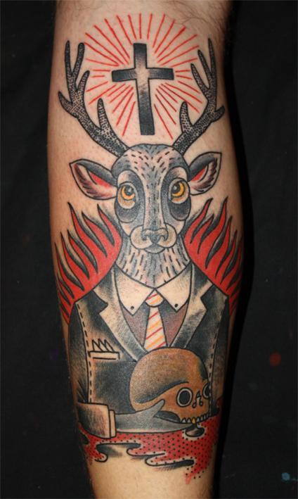 Tattoos - Traditional Style Deer Tattoo - 61598