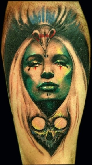Tattoos - Freehand Lady/Skull Tattoo - 49577