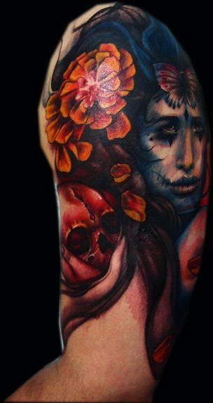 Tattoos - Mexican Girl Half Sleeve - 49578