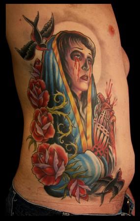 Tattoos - Virgin mary on ribs - 35529
