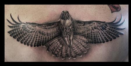 Tattoos - black and grey hawk - 64501