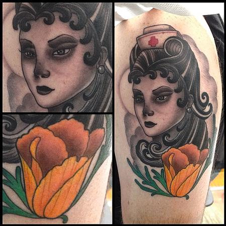 Tattoos - Traditional style Nurse with Golden Poppy  - 116549