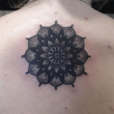 Tattoos - Black and Grey Mandala - 116874