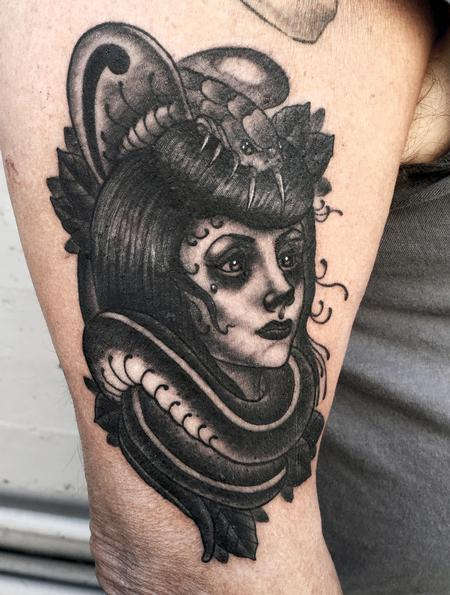 Tattoos - Victorian Goth Girl with Cobra - 116367