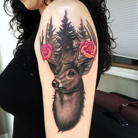 Tattoos - Black and Grey Buck with Pine Trees/Roses - 116406