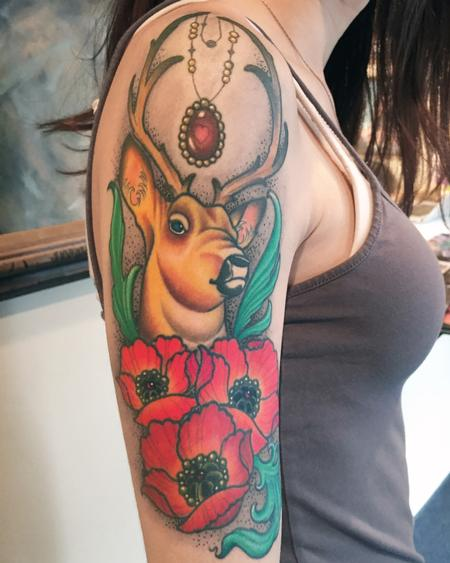 Tattoos - Ornate Buck and Poppies Halfsleeve - 116421