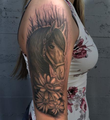 Tattoos - Black and Grey Horse and Daisies  - 120415