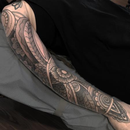 Tattoos - Menhdi/Mandala full sleeve w/black and grey and stippling in progress - 122266