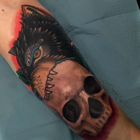 Tattoos - Traditional style wolf head and Realistic Skull - 122806