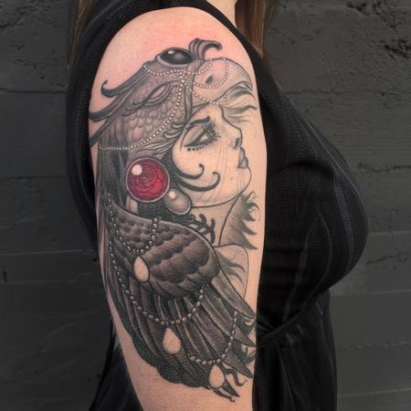 Tattoos - Goddess with Phoenix Head dress. - 123496