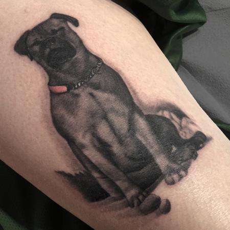 Tattoos - Black and Grey Dog  - 123795
