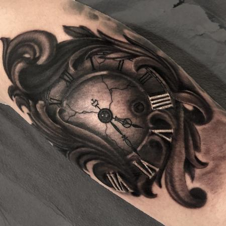 Tattoos - Black and Grey Clock and Filigree - 123796