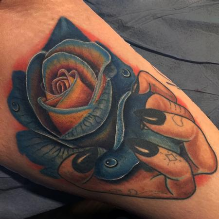 Tattoos - Realistic Blue Rose and Illustrated hand - 124859